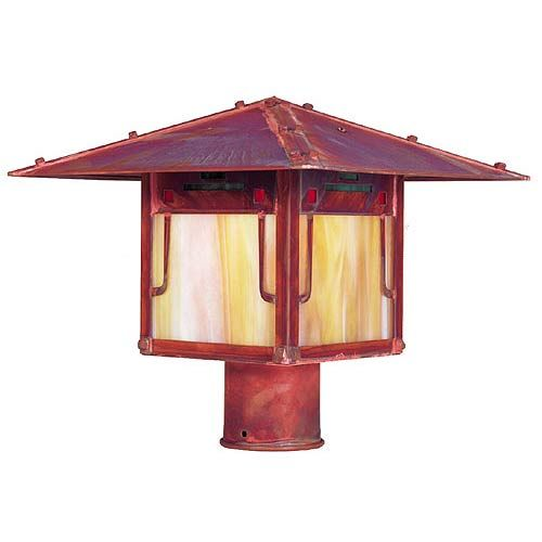 Pagoda Large Raw Copper Outdoor Post Mount Arroyo Craftsman Post Mounted Outdoor Post Ligh