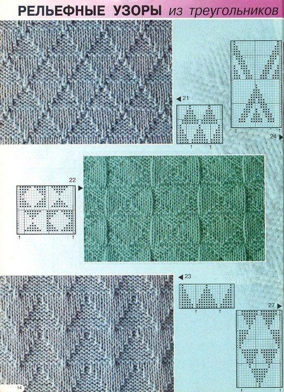 Простые узоры спицами ч1