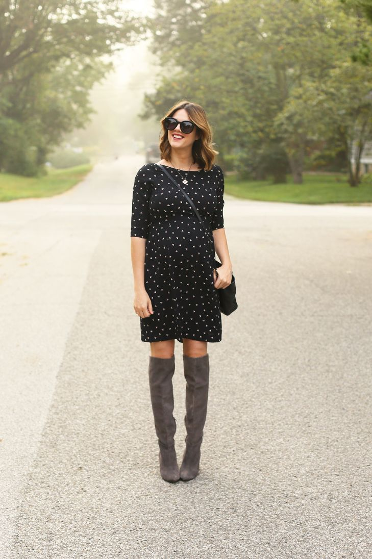 4797635469def Maternity Style, Fall Maternity Outfit, Slimming Maternity Dress,  Flattering Maternity Dress, Over the Knee Boots, Pregnancy, Dress the Bump,  Stylish Bump