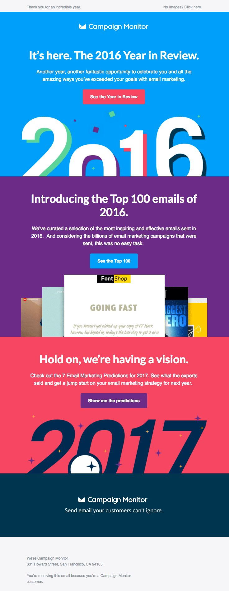@campaignmonitor  sent this email with the subject line: Let the celebration begin.  - Read about this email and find more customer appreciation emails at ReallyGoodEmails.com #customerappreciation #newyear #newsletter