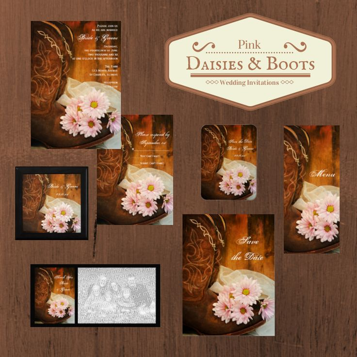 Set the tone for your casual yet classy rural country farm, #rustic #barn, ranch or #western #wedding theme with a shabby chic Pink Daisies and Boots Country Wedding Invitation, Save the Date Announcement, Greeting Card or Personalized Keepsake Gift. #rusticweddng #westernwedding #countrywedding #barnwedding
