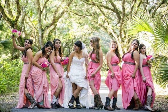 How to wear a bridesmaid dress with cowboy boots- I love the cowboy boots...I totally wanna wear mine :)