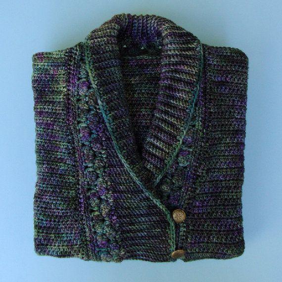 Women's Sweater  Wool Violet/Teal Shawl Collar M by toivima, $227.50Wool Violets T, Women Sweaters, Shawl Collars, Women'S Sweaters, Violets T Shawl, Sweaters Wool