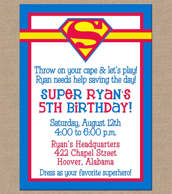 12 Boy Super Hero Superman Invitations with by ohsuzyqdesigns, $12.95
