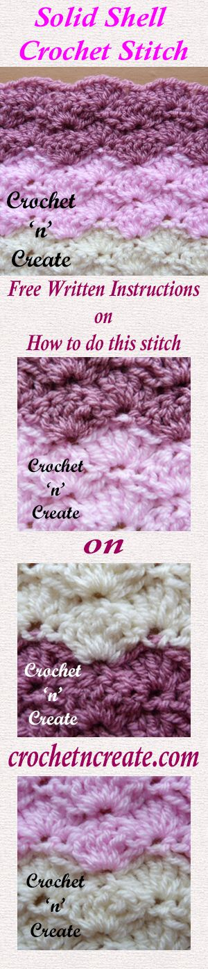 Free written instructions for solid shell stitch, great for blankets and items for around the home. #crochet