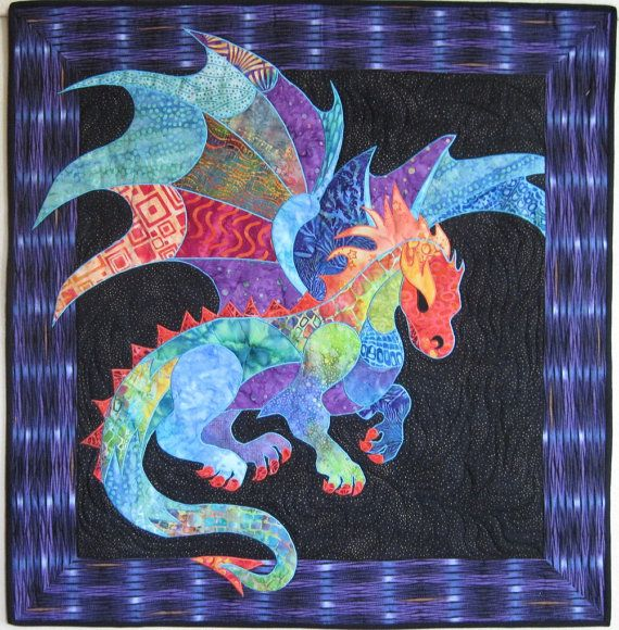 I designed this pattern in 2012. This pattern includes instructions to make the Dragon wall hanging shown, measuring 35 x 36. The technique used is fusible applique and a satin stitch. You could also use raw edge applique, if you prefer. A full size drawing of the dragon is included. No enlarging or piecing together of pages necessary! Ive seen this pattern used as the center of a childs bed quilt. It was adorable. Knowledge of basic quilt construction is required. However the pattern…