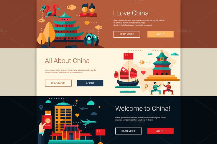 Travel to China Website Banners Set by Decorwith.me Shop on @creativemarket
