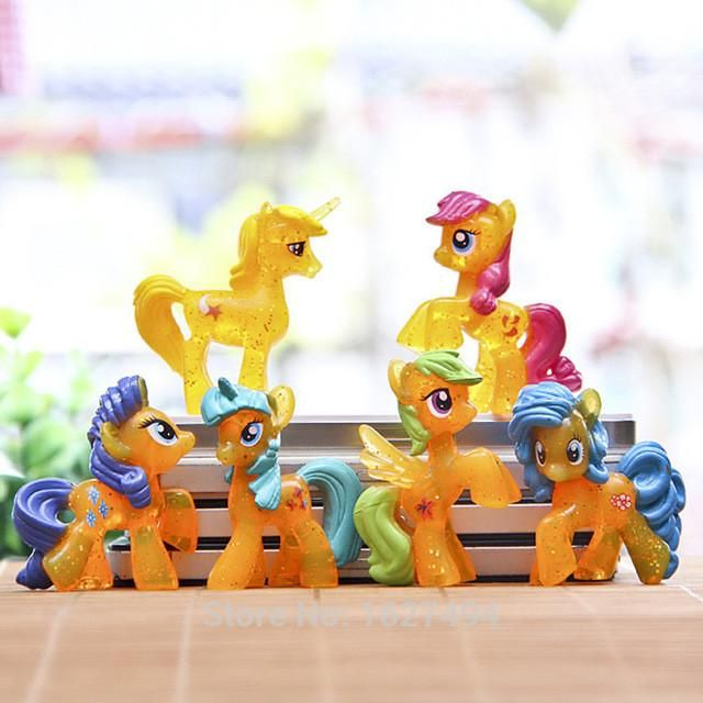 6pcs/set Little Horses Pet Shop Action Figures Filly Toys Unicorn Collectible Doll Cheap Anime Figurines Kids Toys For Boys Gift