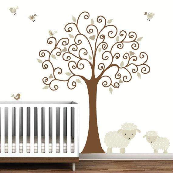Tree Wall Decalwith Lamb SheepBaby Nursery van Modernwalls op Etsy, $129.00