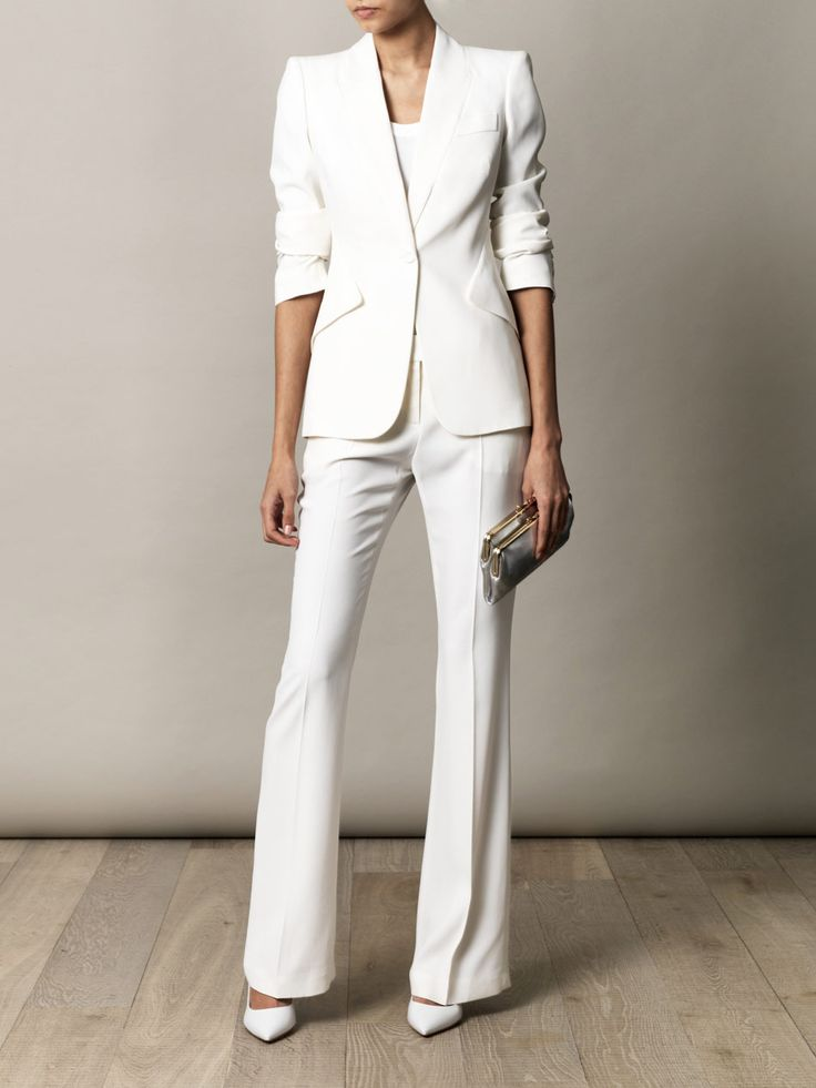 54 best white wedding suits for women images on pinterest for Womens white dress suit wedding