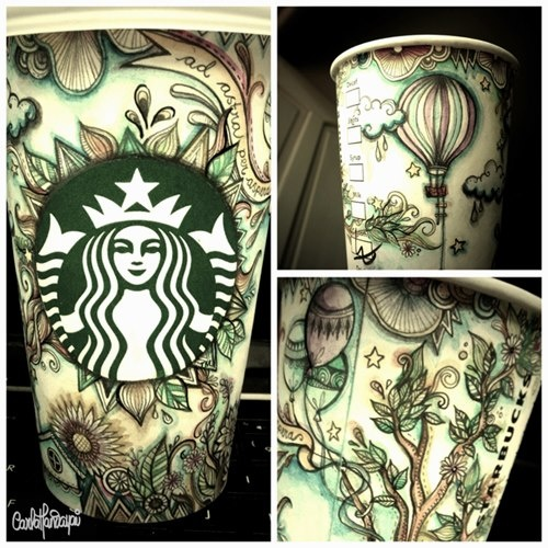 Love this colored Starbucks cup art | Food | Pinterest