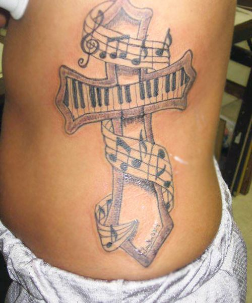Cross and Music Note Tattoo Design
