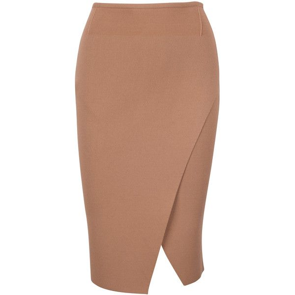 COMPACT OVERLAP PENCIL SKIRT ($158) ❤ liked on Polyvore featuring skirts, knit pencil skirt, pencil skirt, beige skirt, beige pencil skirt and knee length pencil skirt