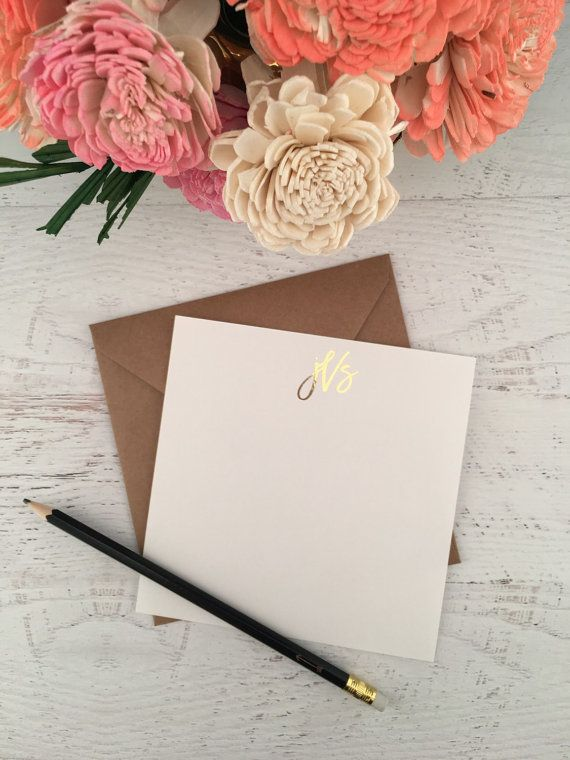 Gold Personalized Stationery,Personalized Stationary,Monogram Cards,Personalized Notecard,Gold Stationery,Gold Foil Stationery,Monogram