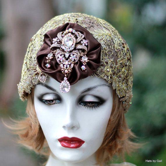 1920s Flapper Hat Bridal Skull Cap Headpiece Wedding
