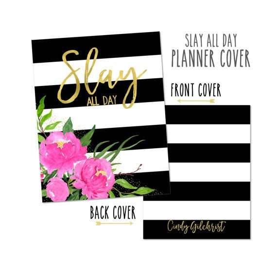 Monogrammed Planner Cover ~ Slay All Day ~ Choose Cover only or Cover Set -Fits Happy Planner, Big Happy Planner, or Erin Condren