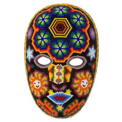 Novica Unique Huichol Beaded Mask with Peyote Wall Décor