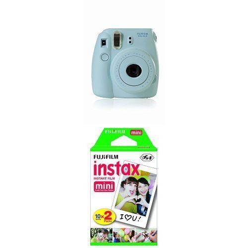 Fujifilm Instax Mini 8 Instant Film Camera (Blue) with Twin Pack Instant Film (White)
