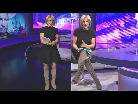 Emily Maitlis dress over Knee High Boots