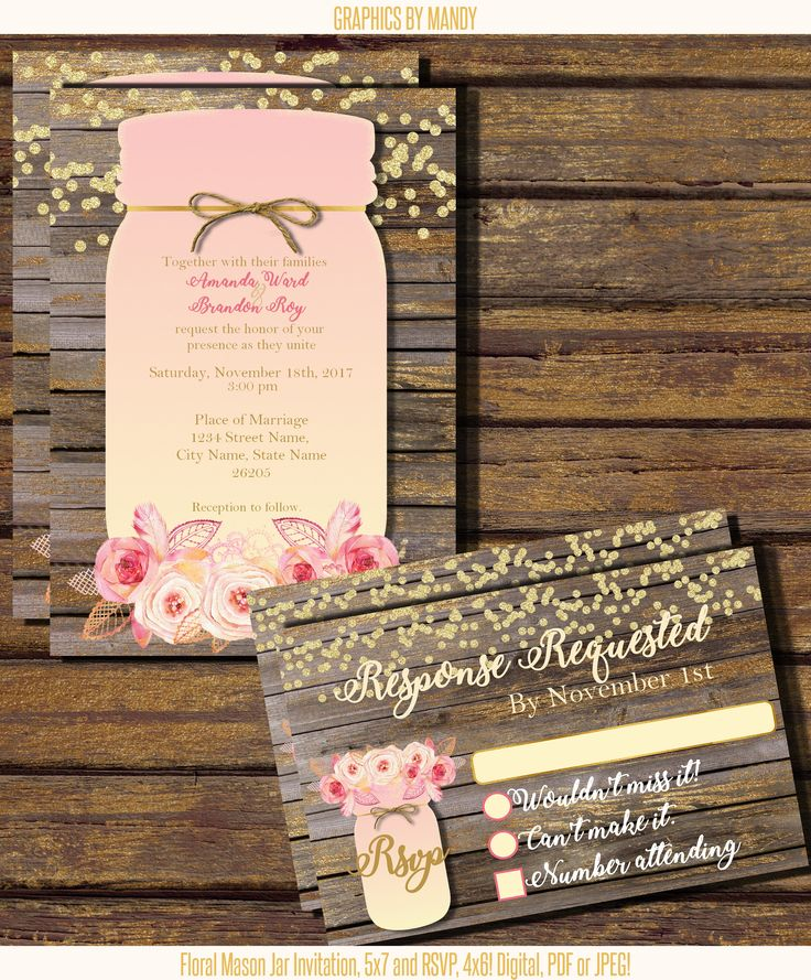 in wedding invitations is the man s name first%0A Mason Jar Wedding Invitation  Rustic Wood Design  Blush Pink  Gold  and  Beautiful