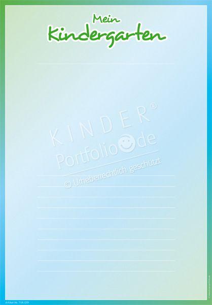 """Kindergarten Portfolio Vorlagen """"Mein Kindergarten"""""""
