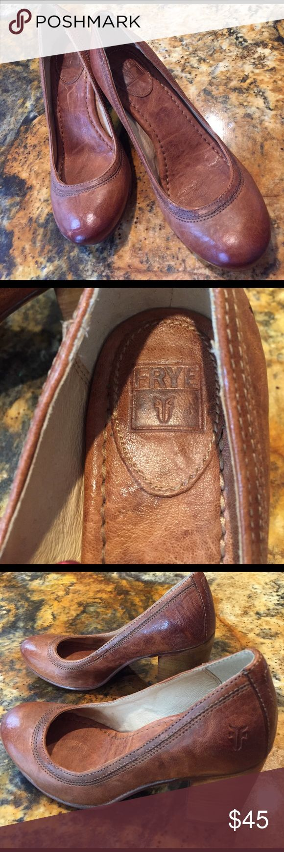 "FRYE carbon pump: weathered brown w/3"" wood heel Classic tan brown pump with beautiful tan stitching. Wooden heel rounded toe for comfort. Brand new heel taps Frye Shoes Heels"