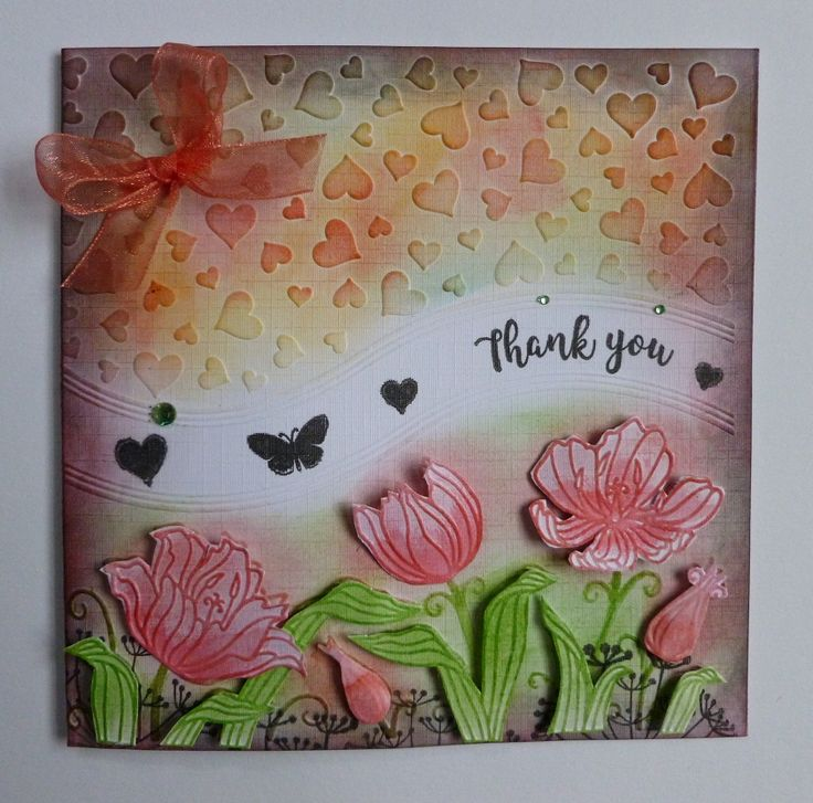 'Hearts & Flowers Thank You' card.  -Black ink pad.  Green gems.  Organza ribbon.  White linen card.  Distress Inks.  Seed head stamp - free with Craft Stamper Mag.  Hearts & Flowers folder & stamp set - free with Papercraft Essentials Mag.   January 2018.   Designed by Jennifer Johnston.