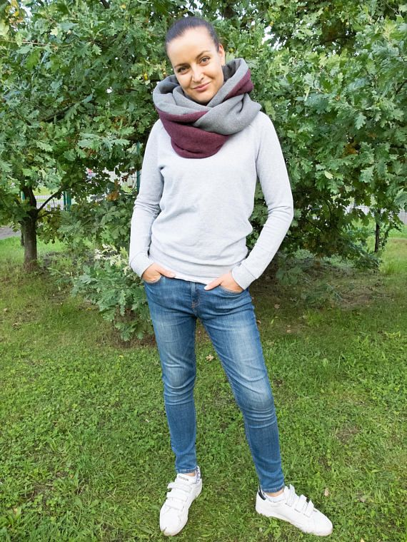 Women hooded scarf hooded cowl winter infinity scarf