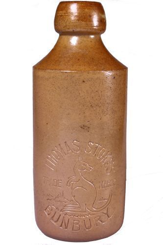 Dump b/t salt glaze - imp. to side body 'Thomas Stokes, Bunbury'... Click VISIT to find out how much the bottle sold for and see 1000's of more Bottles at MAD On Collections...  Check us out on Facebook - https://www.facebook.com/Mad-on-Bottles-818609791640083/...  Please feel free to pin or share this Bottle or any content from MADonC.com. MADonC.com is for passionate collectors of all objects with 1000's of categories on view...  #bottle #gingerbeer #stonebottle