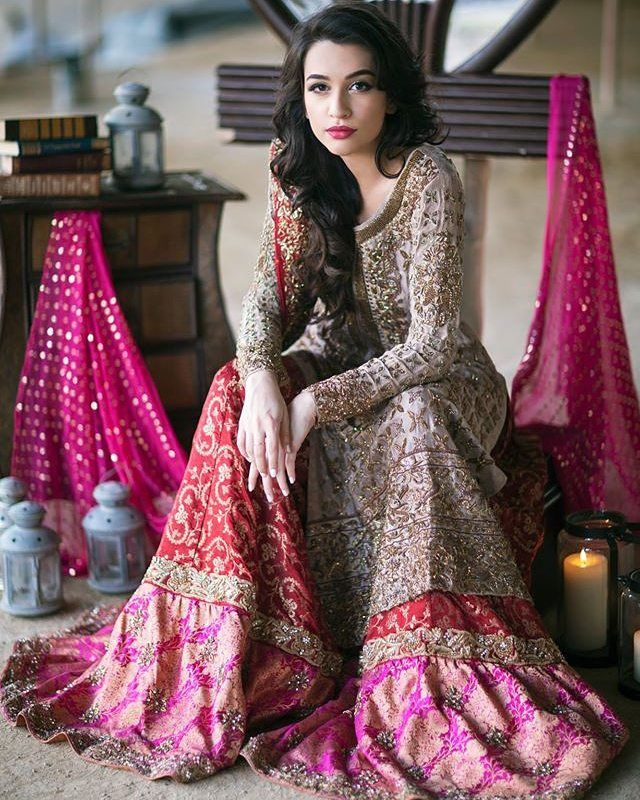 Contemporary Pakistani bridal outfit.  Will you wear a traditional look or go…