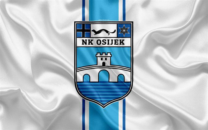 Download wallpapers NK Osijek, 4k, Croatian Football Club, emblem, logo, football, flag, HNL, Croatian Football Championship, Croatian First Football League, Osijek, Croatia, Osijek FC