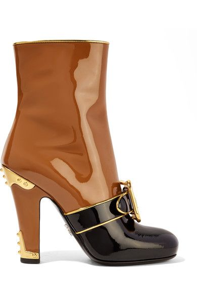 Prada | Buckled two-tone patent-leather boots | NET-A-PORTER.COM