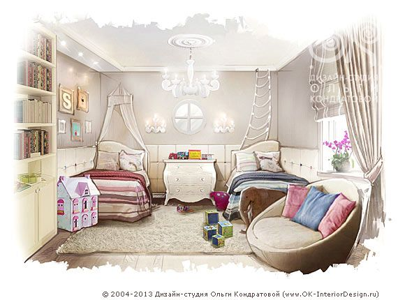 Детская комната для двух маленьких детей http://www.ok-interiordesign.ru/ph_dizain-detskoy-komnaty.php
