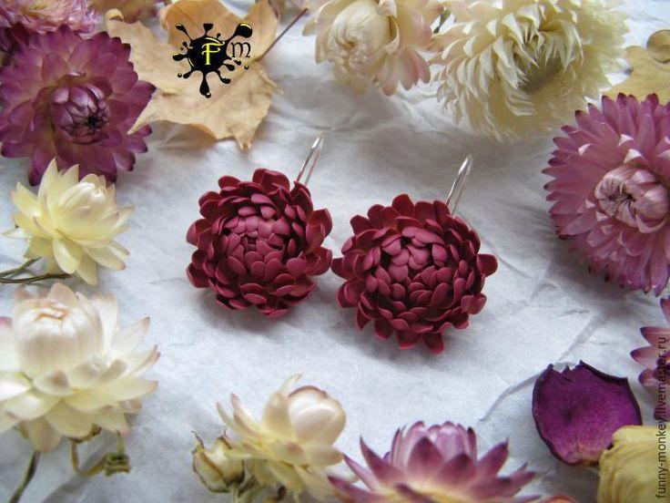 Создаем серьги с цветами бессмертника из полимерной глины - Ярмарка Мастеров - ручная работа, handmade