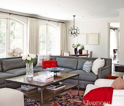 Gray Couch In Neutral Room Simplified Living An Elegant California Home