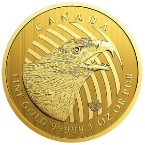 """The 2018 Canadian Golden Eagle 1-oz is the fifth coin in the """"Call of the Wild"""" series. These coins were crafted in exquisite detail by Royal Canadian Mint engravers and are made out of 99.999% pure gold - the highest standard of pure gold available in the world. - Get yours today from Austin Rare Coins & Bullion"""