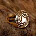 The Divine ProportionThe Golden spiral structure represents two well known sacred geometry shapes: the golden mean (phi) spiral & Fibonacci spiral. The Golden mean spiral is the secret proportion of beauty as it exists in nature.The Golden spiral ring generates harmony & tranquility & is a symbol of natural beauty.  Size:2.0cm/2.0cm -  0.8Inch/0.8Inch Metal: Solid Gold 14k Yellow. Please click on the image to order. Price: $1,232
