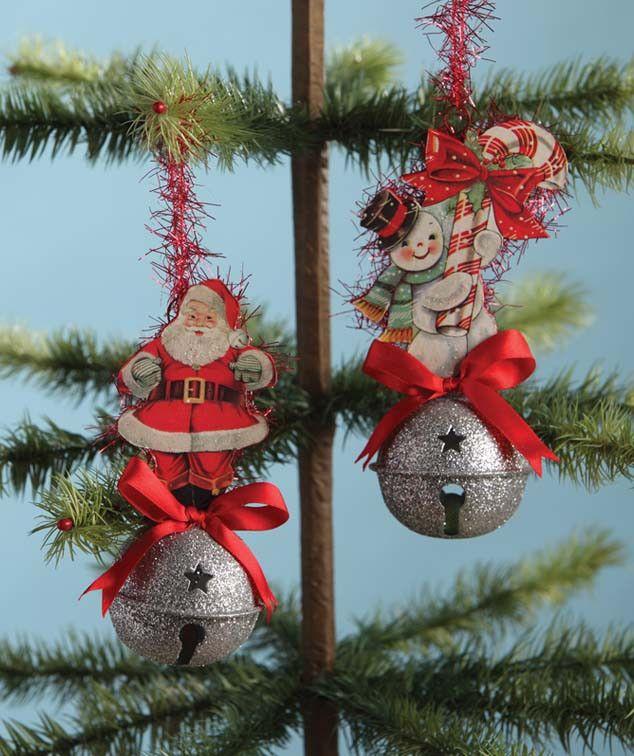 Retro Sleighbell Ornaments | Retro Santa and Snowman Ornaments - The Holiday Barn