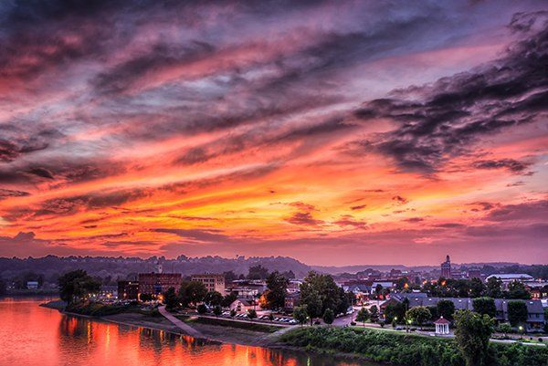 Summer sunset over Marietta Ohio just after a storm had past through earlier in the afternoon.
