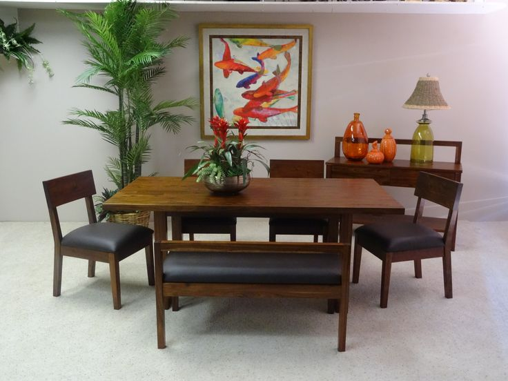 This Acacia Wood Dining Set Features Clean Simple Lines In The Rectangular Table Side Chairs And Bench Size Is X Sold Sets Or