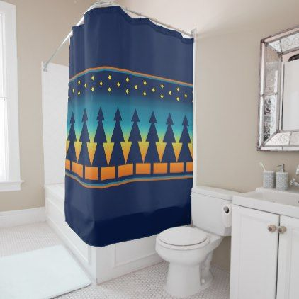 Southwest Sunset Pines Blue Shower Curtain - blue gifts style giftidea diy cyo