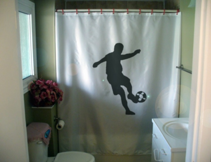 Soccer Football Shower Curtain Ball Footballer Sport Kick Star Bath.  $55.00, Via Etsy.