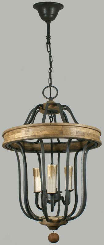 Wrought iron and wood complete this unique medievil inspired lantern.  A quality fitting that would transform any dining space.     Frame Size: H - 710mm, W - 450mm Supplied with 1 meter chain Colour: Wrought Iron Globes: 3 x 40w max E14 (not included)
