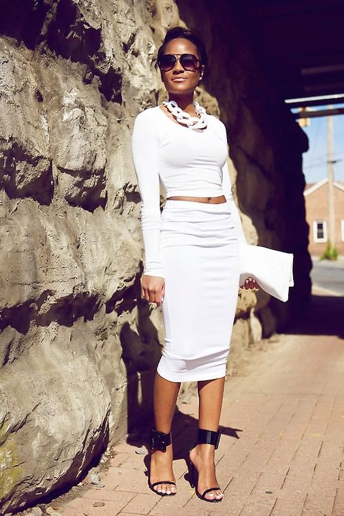 All White Outfit | Asos skirt and crop top