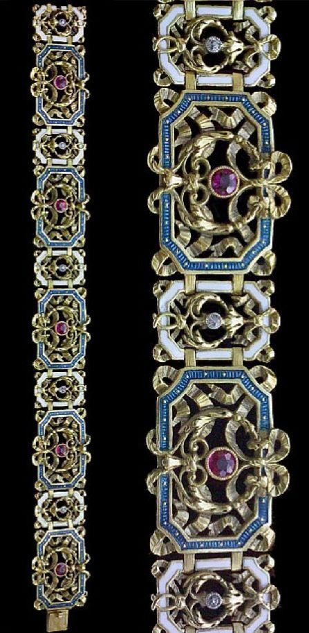 Revivalist bracelet, circa 1870, gold, enamel, ruby and diamond.