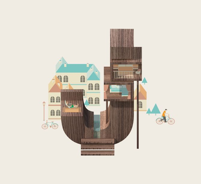 Alphabet - Resort letters (prints available) - Jing Zhang illustration