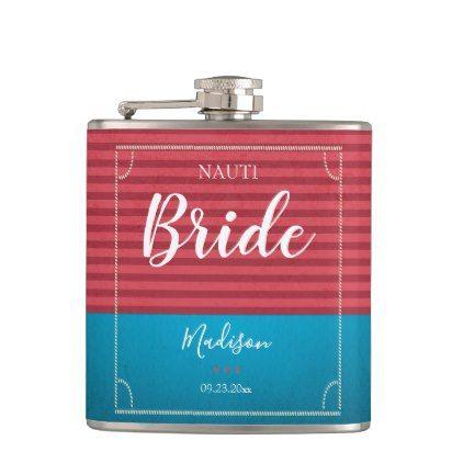 Vintage blue red nautical background bride flask - bridal gifts bride wedding marriage