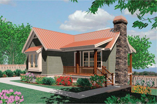 Plan No. 321511 - This adorable little cottage is full of surprises, both inside and out. Begin with a covered front deck, a stone chimney stack and cedar shake shingle on the outside. Then look to the interior for a completely livable main level and a lower level with additional bedrooms. A vaulted great room is at the center of the main level. It is flanked by two decks and warmed by a fireplace.