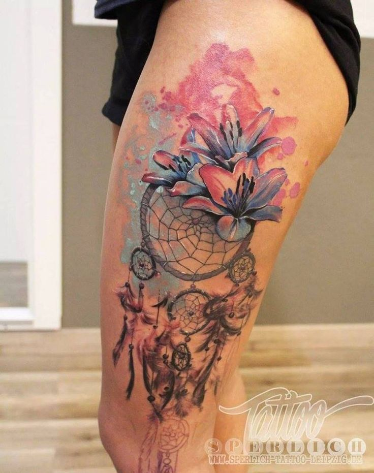 black grey and pink lace dreamcatcher tattoo - Google Search