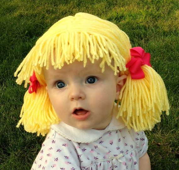 Baby Hat Baby Girl Beanie Wig Pigtails Baby Hair Girls by YumBaby, $34.95
